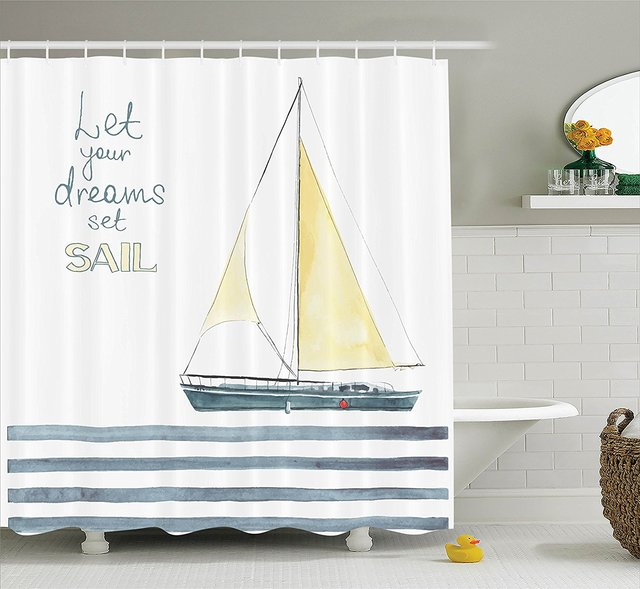 Sailboat Nautical Decor Shower Curtain Quote Stripes Yacht Interior Navigation Bathroom Accessories Petrol Blue Yellow White