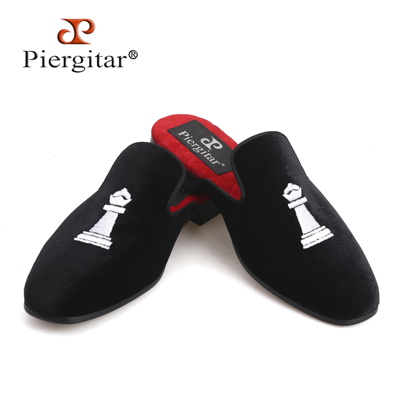 Piergitar 2018 new designs Handmade women velvet slippers of Queen s Chess  Embroidery same designs Couple shoes 3cd9897a6db6