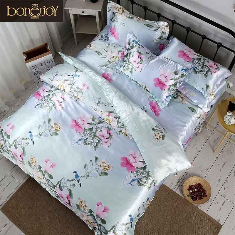 Bonenjoy Satin Linge De Lit En Soie Chine Soie Ensembles de Literie Reine king Size Floral Imprimé Housse de couette Double Bedcloth Lit D'été feuilles