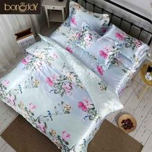 Bonenjoy Satin Silk Bed Linen China Silk Bedding Sets Queen King Size Floral Printed Duvet Cover Twin Bedcloth Summer Bed Sheets(China)