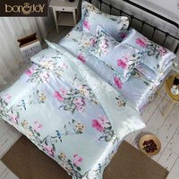 Bonenjoy Satin Silk Bed Linen China Silk Bedding Sets Queen King Size Floral Printed Duvet Cover Twin Bedcloth Summer Bed Sheets