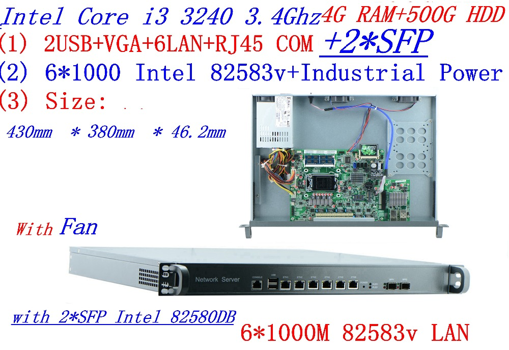Broadband VPN Router 1U Firewall Server 6*1000M Gigabit Lan  2*SFP Intel I3 3240 3.4GHZ 4G RAM 500G HDD Support ROS RouterOS Etc