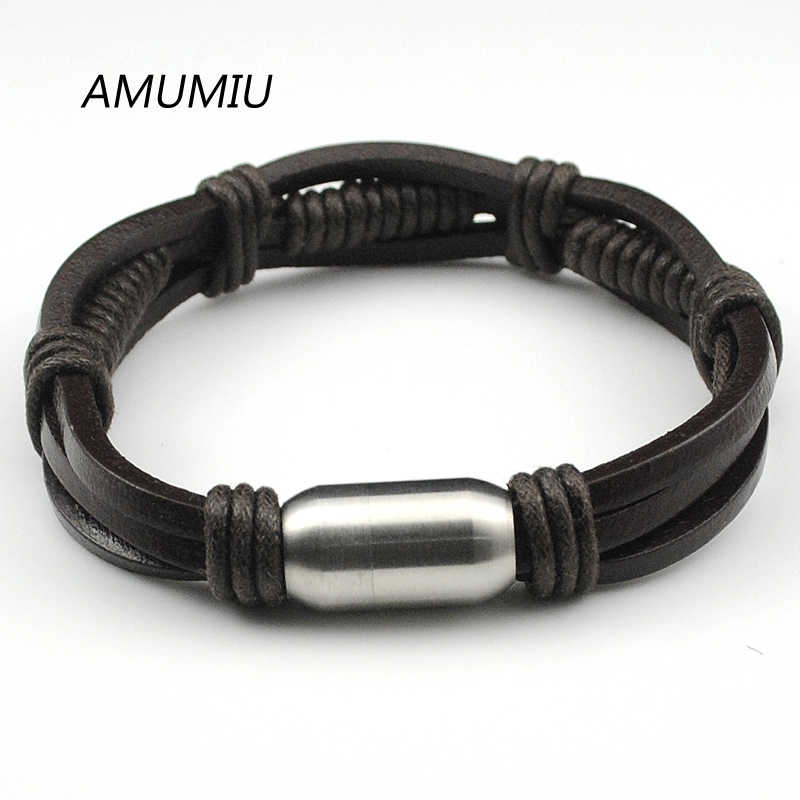 AMUMIU Leather Bracelet, Stainless Steel Clasp Bracelet Men,Wristband Wholesale Rope Chain Handmade Jewelry HZB010