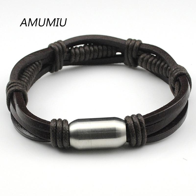 AMUMIU Leather Bracelet, Stainless Steel Clasp Bracelet Men,Wristband Wholesale Rope Chain Handmade Jewelry HZB010
