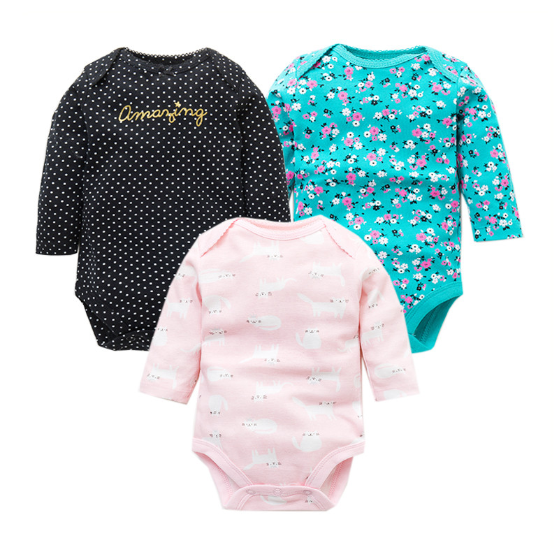 3Pcs/Lot Newborn Baby Bodysuits Set 100% Cotton Baby Boys Girls Pajamas Clothes Infant Long Sleeve Underwear Baby Clothing