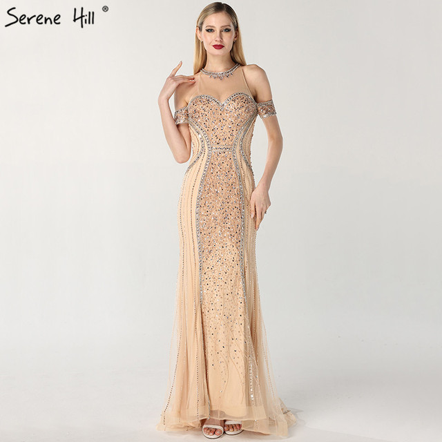 Luxury Sexy Gold Diamond Mermaid Evening Dresses Sleeveless Sparkly Mermaid Evening Gown  2020  Real Photo LA60797