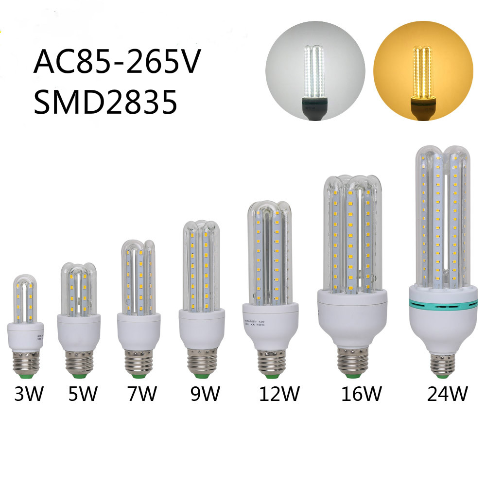 High Power E27 Led Corn Bulb Lamps 3W/5W/7W/9W/12W/16W/24W SMD2835 AC85-265V  LED SpotLights Corn Led Bulb energy efficient 7w e27 3014smd 72led corn bulbs led lamps