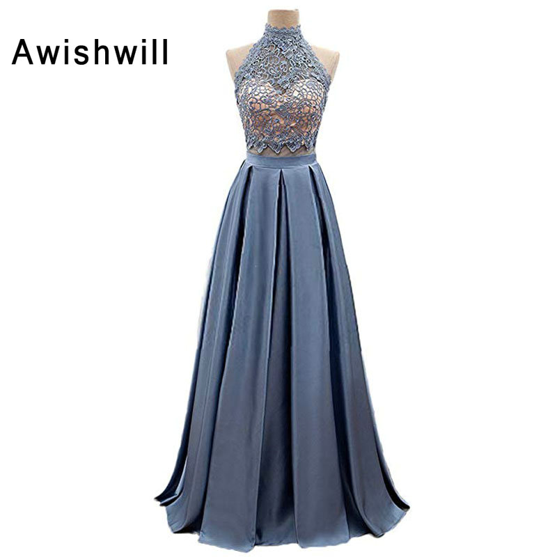 New Fashion 2019 Open Back Floor Length A Line Satin Lace Sleeveless Long Evening Dress Sexy Party Prom Dress Gowns