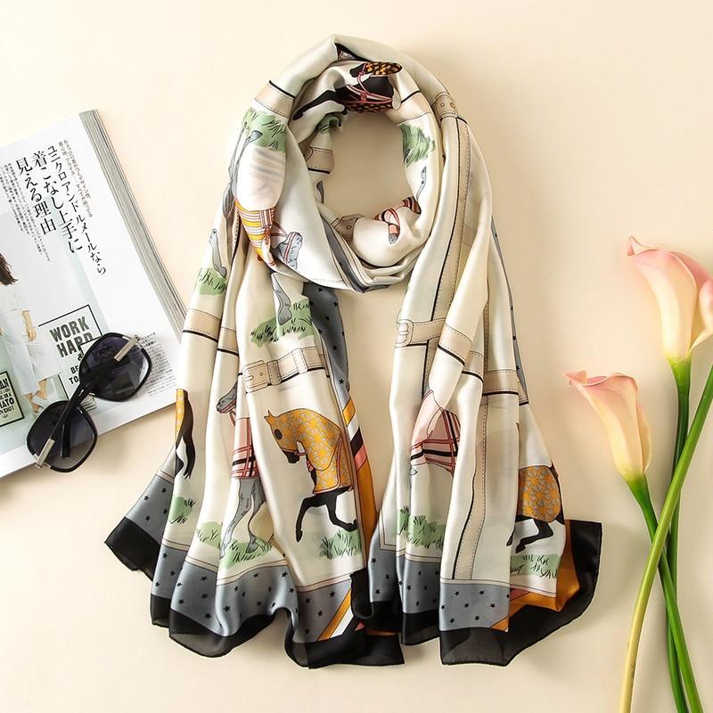 luxury brand summer women scarf fashion quality soft silk scarves female shawls Foulard Beach cover-ups wraps silk bandana