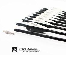 12 Pcs/Set Black Feather Fiberglass Arrows