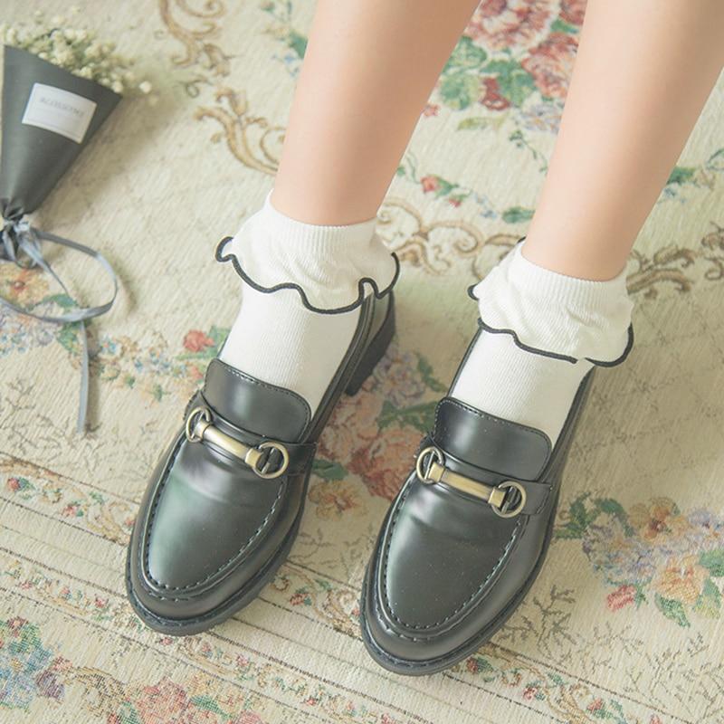 2017 Primăvara și Vara Noua Femeie Fungus Prințesă Dantelă Retro Retin Frilly Șosetă Japoneză Bumbac Gleznă Șosete Scurte Meias