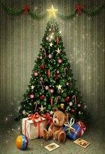 Laeacco خلفيات للتصوير الفوتوغرافي للأطفال ، لعبة على شكل دب ، شجرة الكريسماس ، ديكور حائط مخطط ، خلفية للتصوير الفوتوغرافي لاستوديوهات الصور
