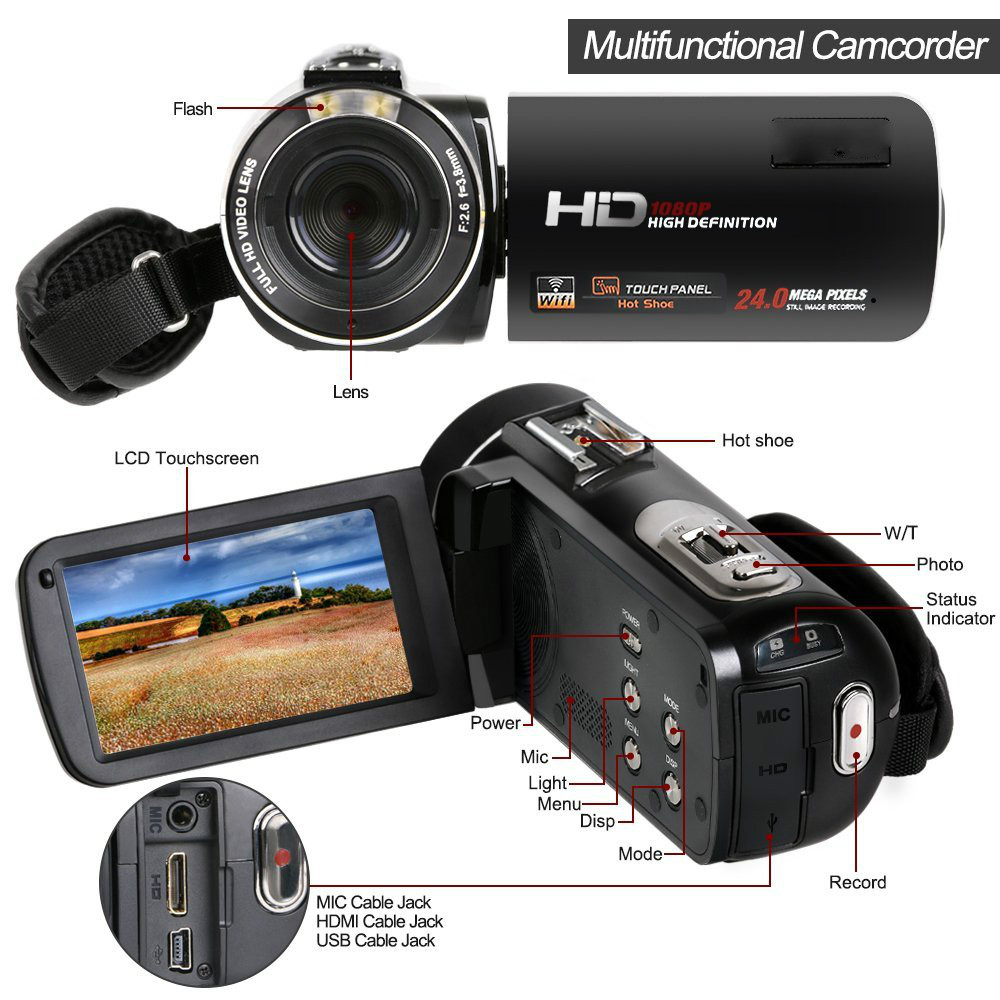 Full HD 1080 P 30FPS Wifi Camcorder Tragbare Digitale Videokamera ...