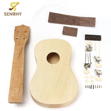 Senrhy 21 Inch Unassembled Wooden Ukulele Rosewood Fretboard Guitar Uke DIY Kit With Musical Accessories For Beginners New