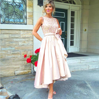 Elegant A Line Pink Mother of the Bride Dresses 2017 Scoop Satin Sequined Bow Sashes New Arrival Party Gowns xq03