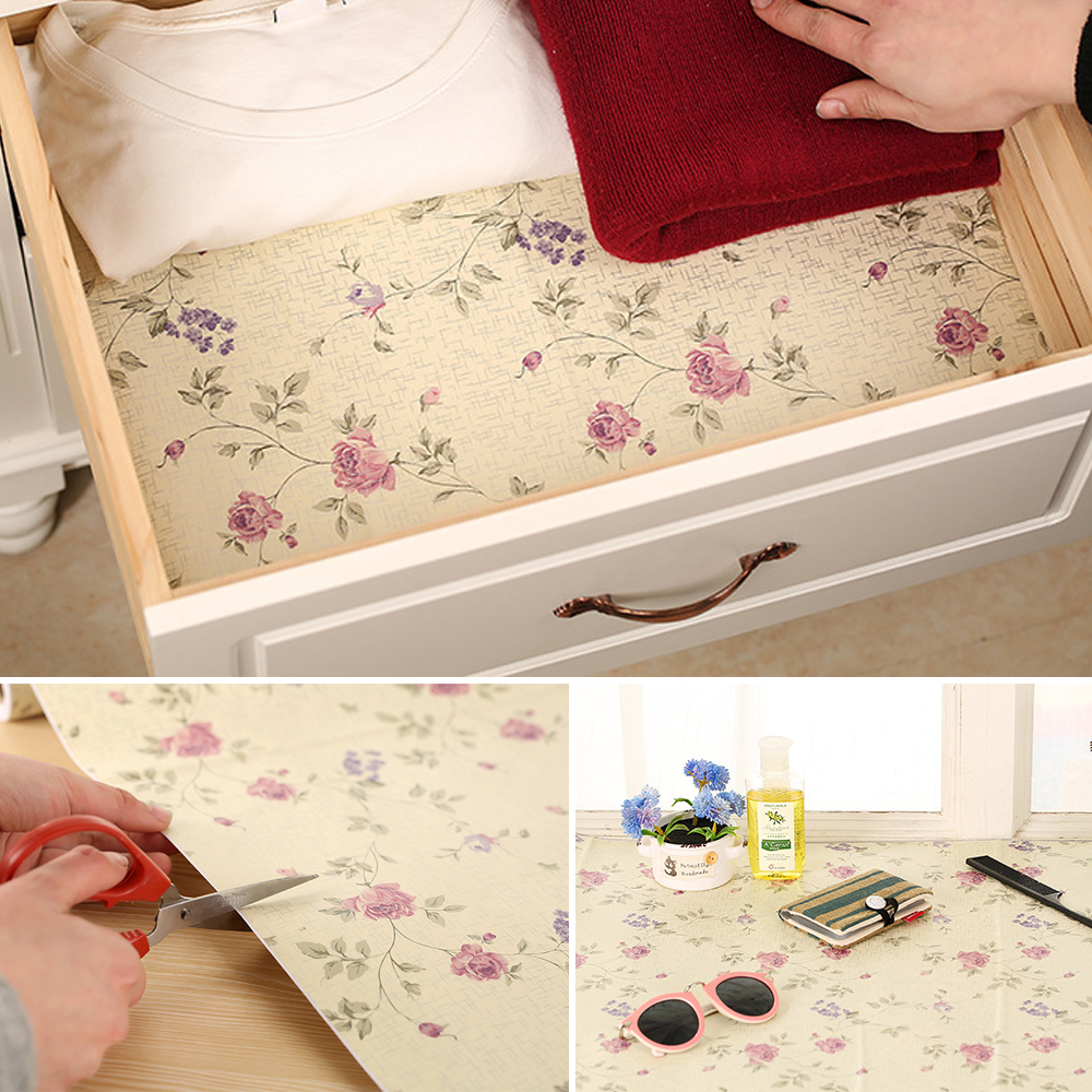 Rayuan Floral Self Adhesive Diy Drawer Liner Wall Sticker