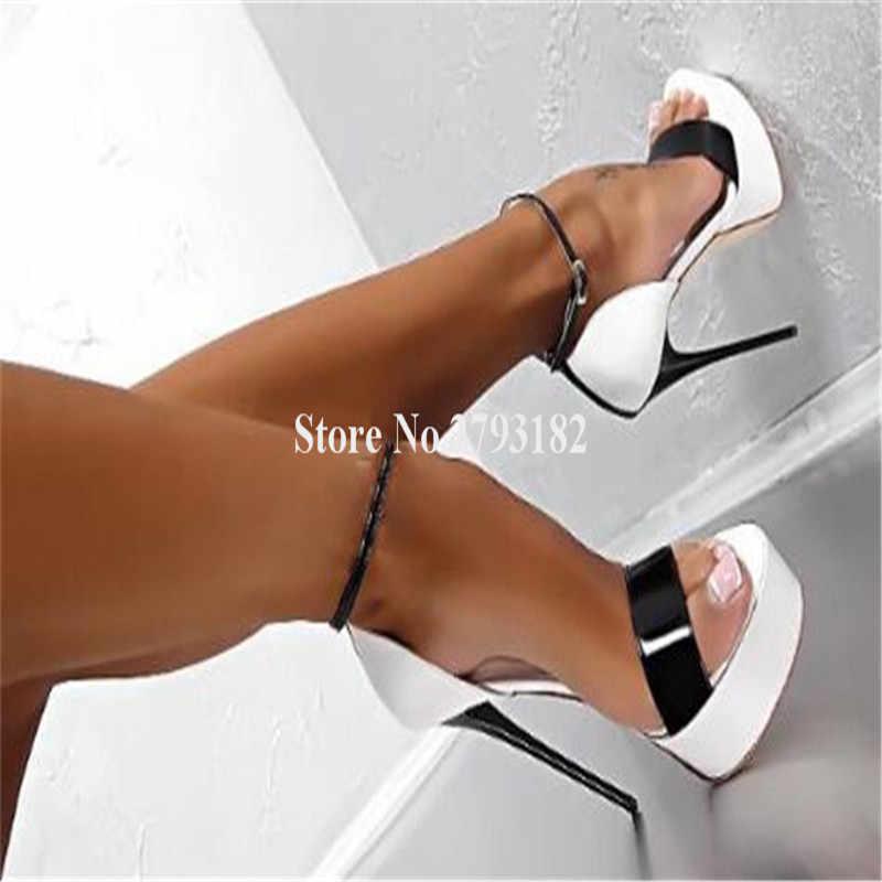 Marka tasarım kadınlar seksi burnu açık bir kayış yüksek platformu Stiletto topuk sandalet ayak bileği kayışı Patchwork yüksek topuklu sandalet kulübü ayakkabı