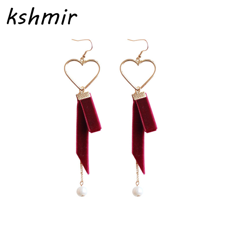 kshmir Super popular tide female earrings joker soft sister velvet belt Cloth fashion eardrop Love shape earrings