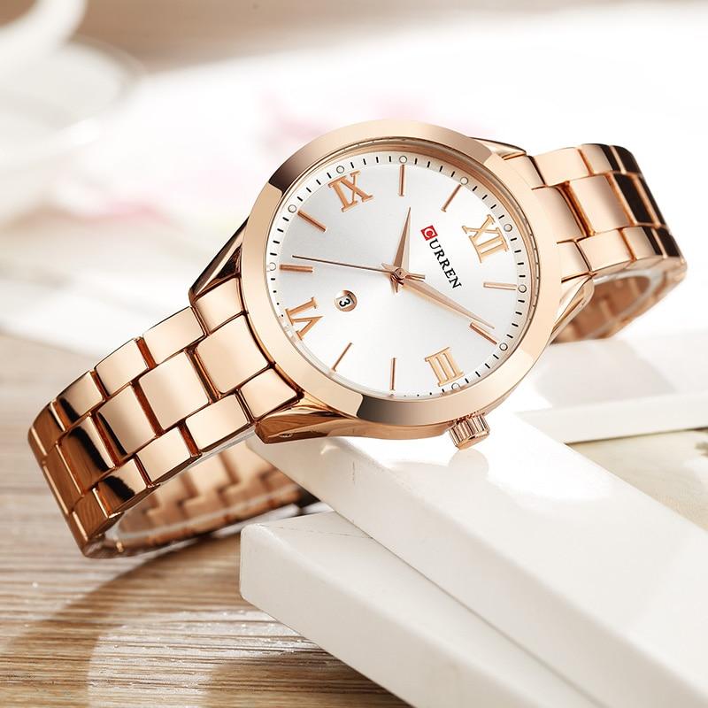 CURREN Marke Frauen Stahl Beobachten Damen Kleid Mode Quarz Armbanduhr Klassische Kristall Gold Armband Frauen Uhr