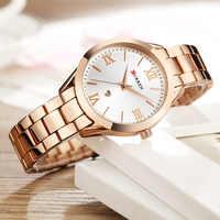Marka curren damski zegarek ze stali damskiej ekskluzywna sukienka moda kwarcowy zegarek klasyczny kryształ złoty bransoletka kobiety zegarek zegar