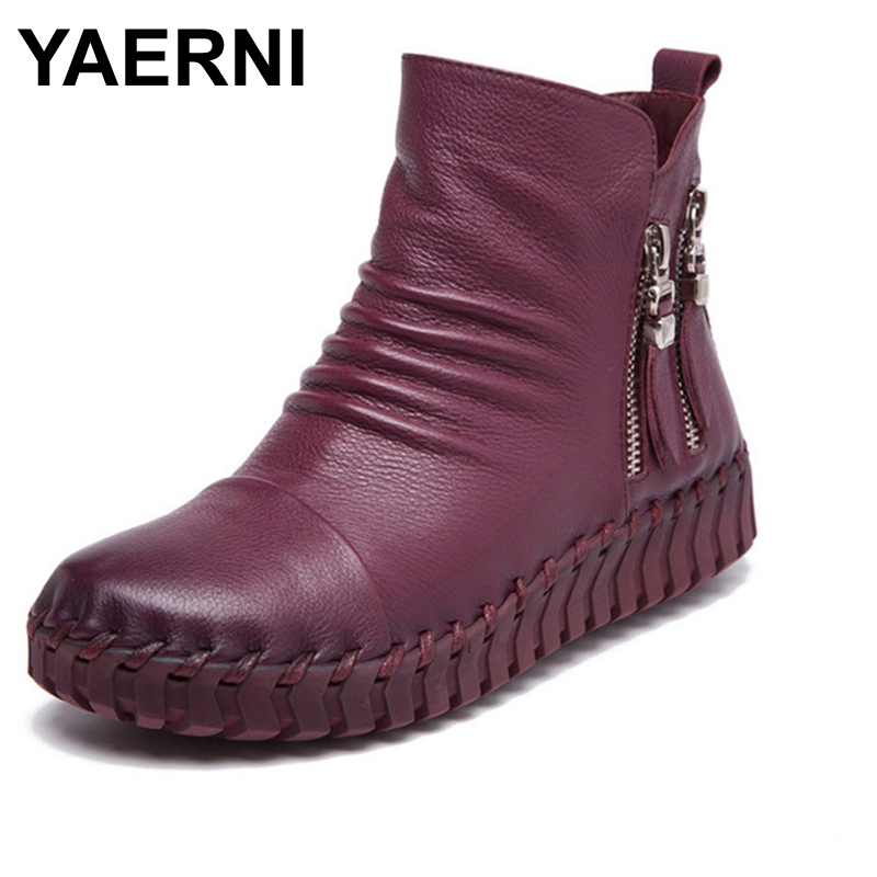 YAERNI Winter Warm Short Plush Women Boots 2017 Autumn Fashion Genuine Leather Sewing Ankle Boots Zipper Soft Flat Shoes yaerni genuine leather hollow out breathable summer sandals boots 2017 autumn fashion sewing flat women flat ankle boots soft