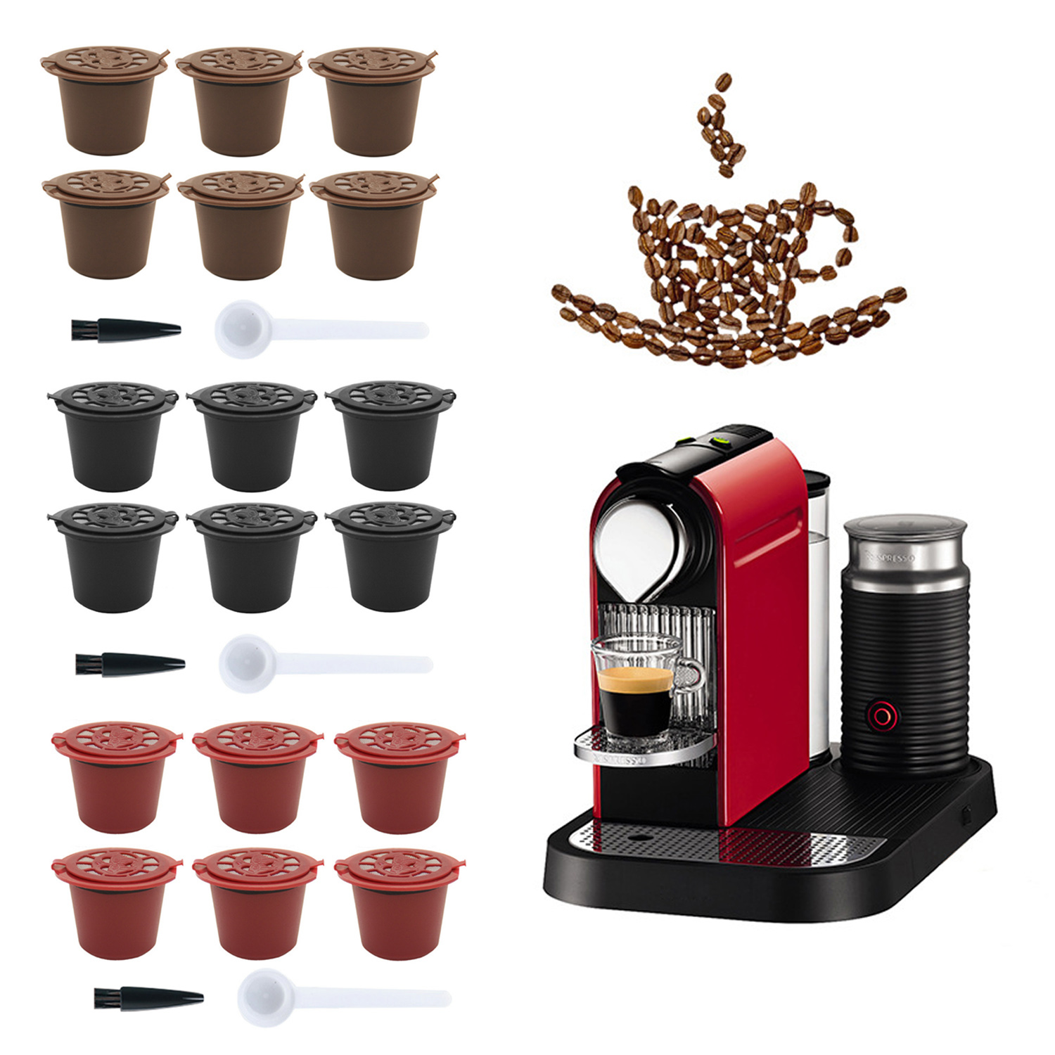 Behogar 6PCS Refillable Reusable Capsule Cup Filter With Spoon Brush For Nespresso Coffee Machine Maker Nespresso Coffee Capsule