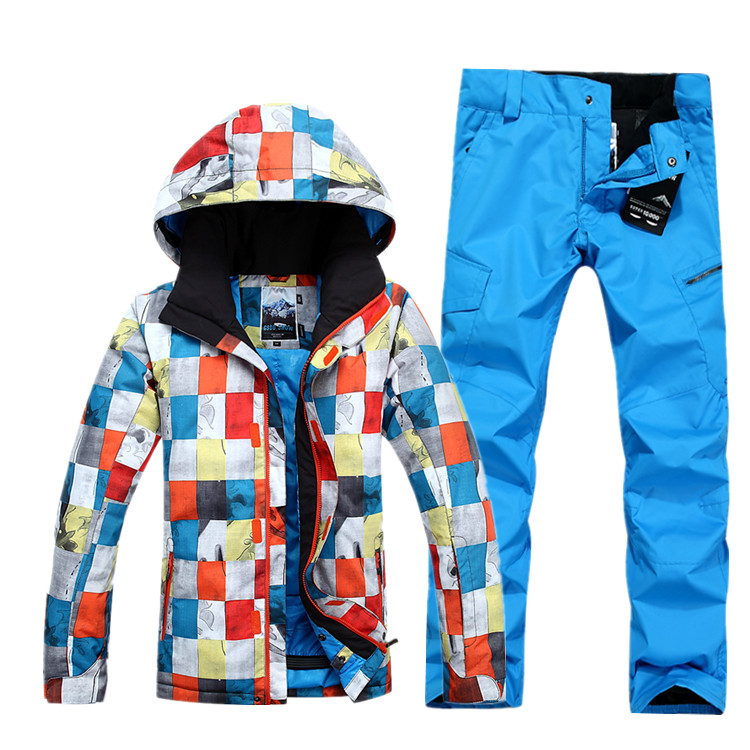 GSOU NEIGE Hiver NEW ski veste et pantalon de ski en plein air loisirs hommes imperméable Respirant ski costume masculin double conseil de ski costume