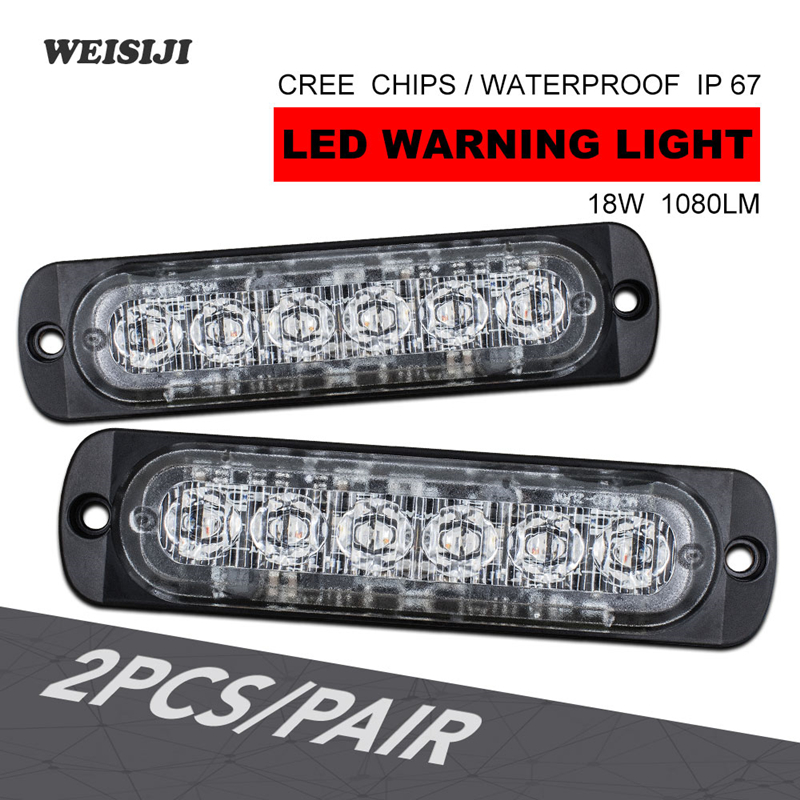 WEISIJI 2Pcs Set 18W 12V 24V Single Dual Color 6 LED Warning light White Amber LED