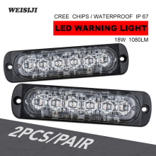 WEISIJI 2Pcs/Set 18W 12V 24V Single/Dual Color 6-LED Warning light White&Amber LED Strobe light Car Truck Van Side Strobe Lights