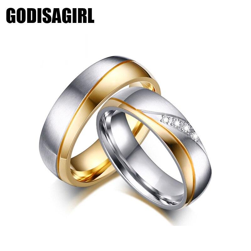 Пара Кольца для Для женщин Для мужчин ААА Цирконий Обручальное кольцо Нержавеющаясталь Женский Обещание ювелирные изделия