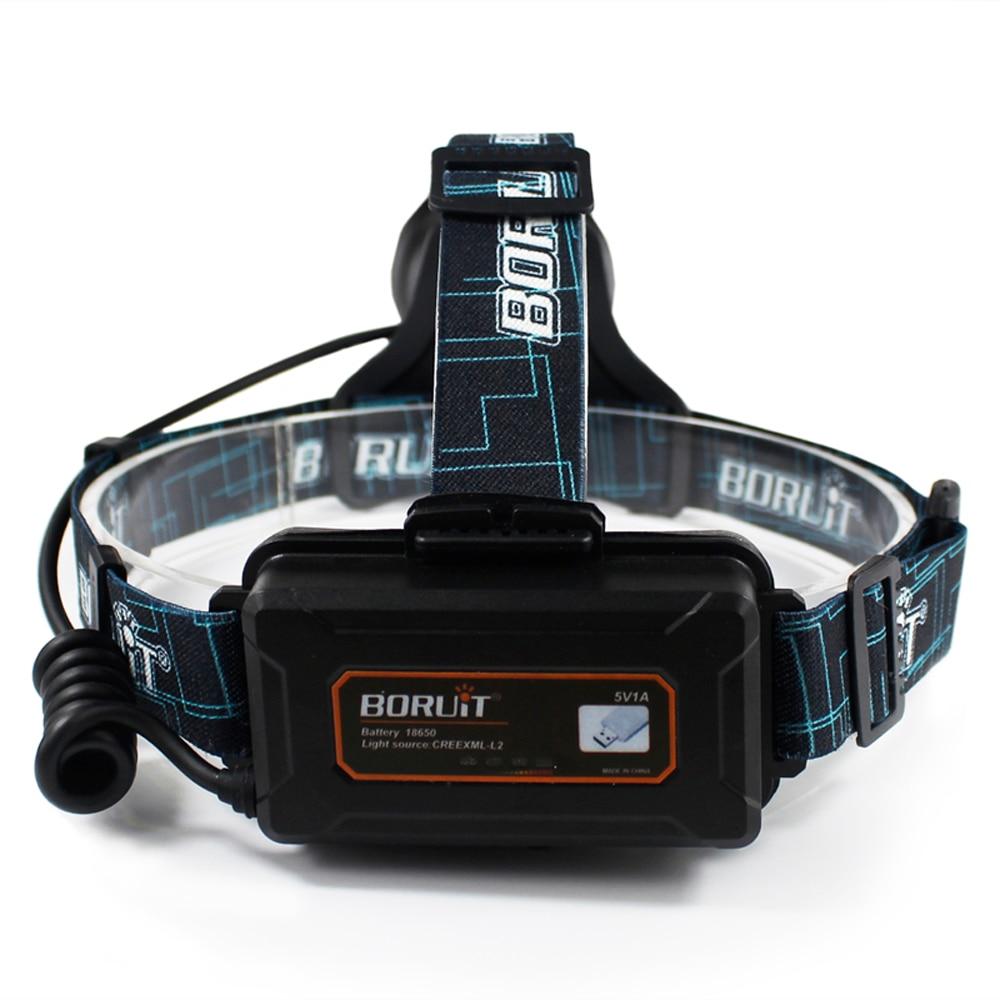 BORUIT B10 XM-L2 Reflektor LED 3-Mode 6000LM Reflektor Micro USB - Przenośne oświetlenie - Zdjęcie 2