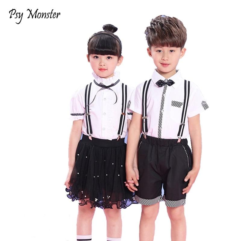 Children Korean Japanese overalls Student Sports School Uniforms Girls Boys Performance Tracksuit Shirt Skirt Shorts Outfits A47