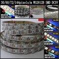 Melhor Preço 1 m 2 m 4 m 5 m DC5V WS2812B led strip endereçável RGB led pixels WS2811 IC à prova d' água 30/60/74/144 Pixels/m