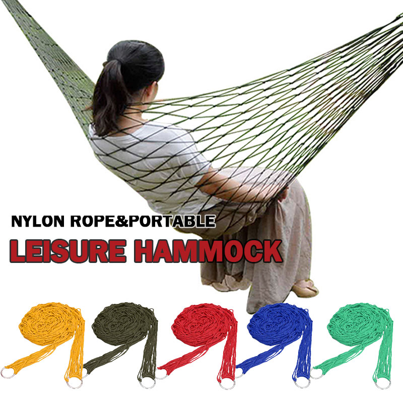2019 New Portable Sleeping Bed Hammock Hanging Swing Hot Travel Camping Outdoor Mesh Nylon Multicolor Home Garden Tool Rope Net