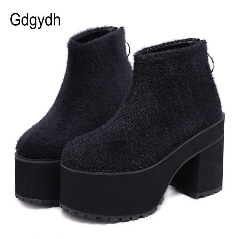 16f76435a Gdgydh/Осенняя обувь на платформе и каблуке, ботильоны, зимняя теплая обувь,  женская