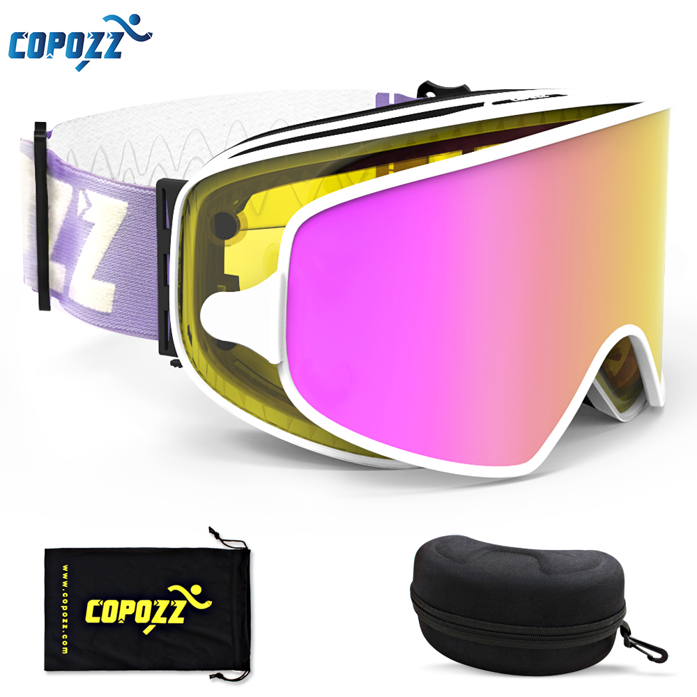 COPOZZ Magnetic 2 in 1 Ski Goggles with Case 2 Lenses for Night Skiing Ski Mask Anti-fog UV400 Snowboard Goggles for Men & Women