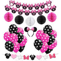 2pcs Minnie Mouse Clothes Set For Baby Kids Girls Cosplay Party Minnie Dress Headband Cute Kids Girls Birthday Cake Smash Outfit