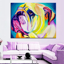 Large size Print Oil Painting bulldog bully Wall painting Home Decorative Wall Art Picture For Living Room paintng No Frame(China)