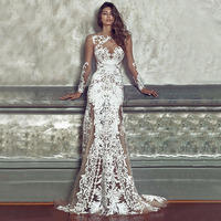 Evening Long White Lace Dresses Maxi Event Vestido De Renda Elegant Wedding Mermaid Dress Sexy Backless Stylish Bodycon Clothing