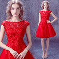 Lovely Red Lcae Short Prom Dresses New Appliques Lace Short Homecoming Graduation Dresses 2016 Cheap Tulle Short Cocktail Dress