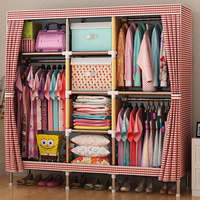FREE Shipping Wardrobe Large Simple Home Steel Clothes Storage Bold Thicker Steel Frame