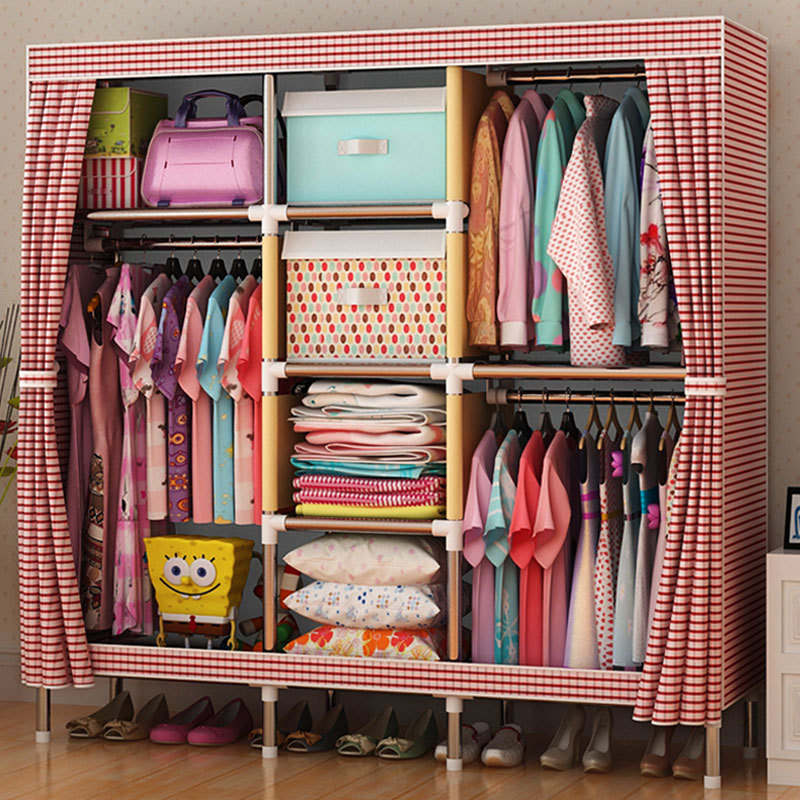 sell well Wardrobe Large Simple Home Steel Clothes Storage Bold Thicker Steel Frame wardrobe extra large eco friendly cartoon hanging clothes cabinet wardrobe storage box wire combined type child simple