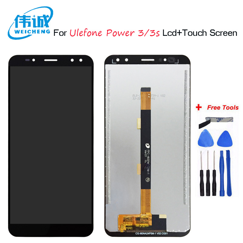 WEICHENG For Ulefone Power 3 Power3 LCD Display +Touch Screen Assembly Digitizer Replacement For Ulefone Power 3S Display+Free