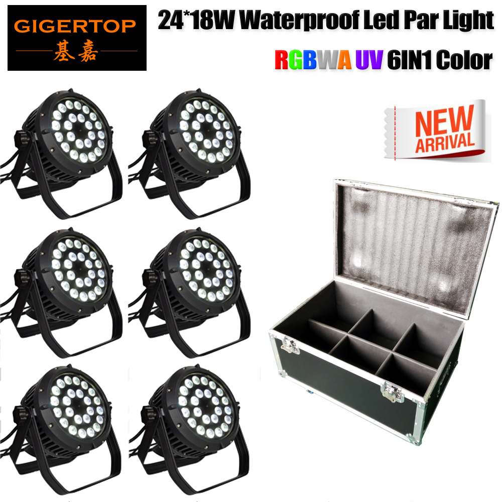 4IN1/6IN1 Hard Case 6 Color 24 18W Waterproof Led Par Light Electrical Linear Dimmer Curve Original Tyanshine DMX512 Control