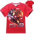 2016 Fashion Cartoon Print T shirt Superhero Captain America Tops Tees Casual Shirt Red and Blue T-shirt for 4-12yrs Clothing