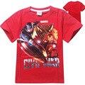 2016 Moda Dos Desenhos Animados Imprimir T camisa de Super-heróis Capitão América Tops Tees Camisa Casual T-shirt para 4-12yrs Roupas Vermelho e Azul