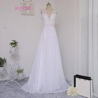 Vestido De Noiva 2016 Beach Wedding Dresses A Line Deep V Neck Beaded Lace Vintage Wedding