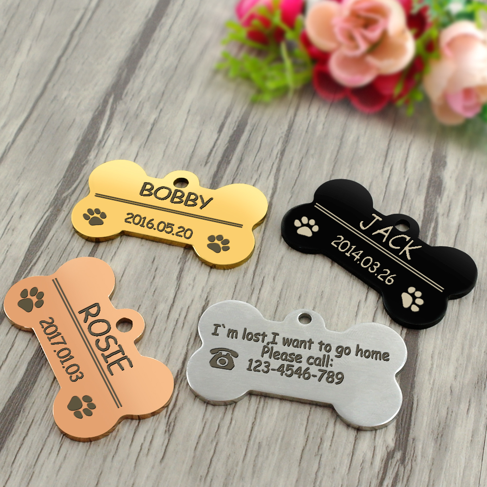 Personalized Dog Tags Engraved Cat Puppy Pet ID Name Collar Tag Pendant Pet Accessories Bone/Paw Glitter 32