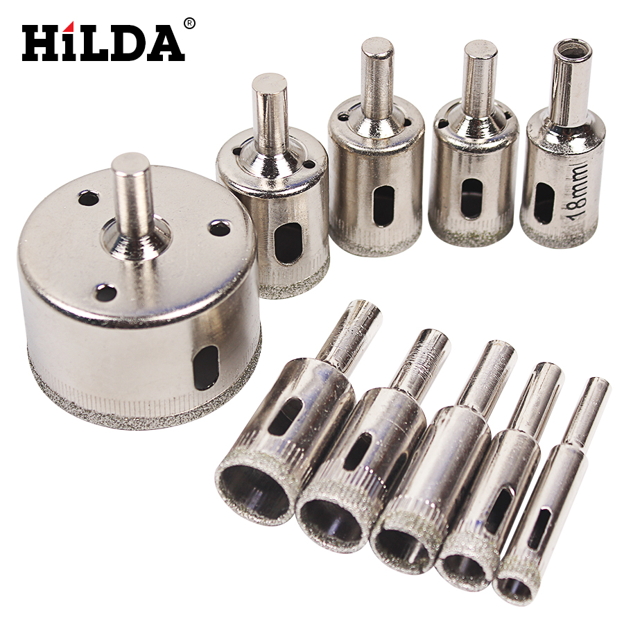 Hot Sale 10PCS/set 8-50mm Diamond Coated Core Hole Saw Drill Bits Tool Cutter For Tiles Marble Glass Granite Drilling Best Price best price 10pcs 3mm 50mm hole saw drill bit set diamond tile glass marble ceramic cutter power tool set