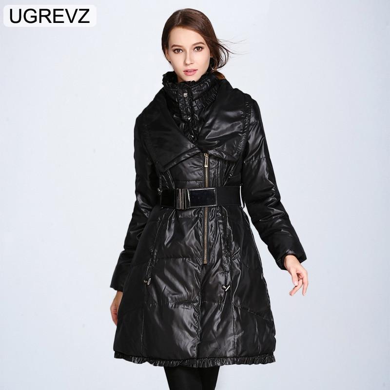 UGREVZ 2019 Fashion Women Down Jackets Winter Plus Size Long Duck Down jacket Warm Slim Quality Black Coat Female   Parka   Overcoat
